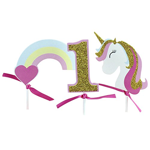 E-dance Rainbow Unicorn Cupcake Toppers Picks, Unicorn Cake Toppers for Birthday Baby Shower Party Decorations ()