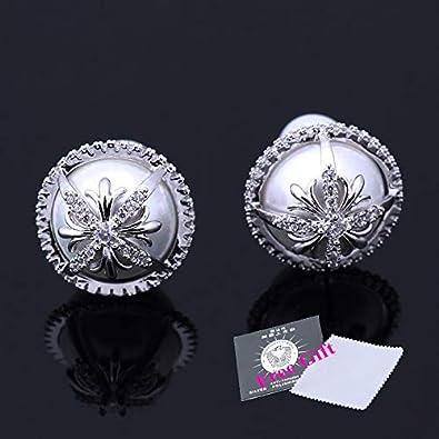 Nuevos pendientes de perlas de mujer de moda Pendientes de perlas simuladas de cristal clásico con boucle de piedra