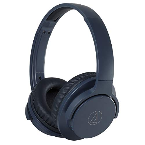 Audio-Technica ATH-ANC500BTNV QuietPoint Wireless Active Noise-Cancelling Headphones, Navy