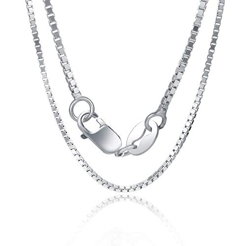 Orabelle 1mm Square Italian Box Chain Necklace 925 Sterling Silver 36 Inch White Gold Plated Lobster Clasp (Gold Square White Childrens)