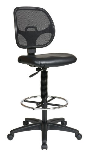 Office Star Deluxe Mesh Back Drafting Chair with 20' Diameter Adjustable Footring, Black Fabric Seat