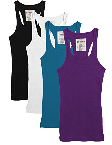 Zenana Outfitters 4 Pack Womens Basic Ribbed Racerback Tank Top BLACK/WHITE/TEAL/PURPLE M