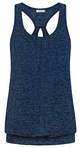 (Helloacc Banded Bottom Workout Tops for Women,Running Exercise Sport Set Fitness Gym Tops Nice Relaxed Fit Shirts Cool Outfits for Teens Hiking Tops Sleeveless Shirts Crew Neck Drifit Soft Navy Blue L)