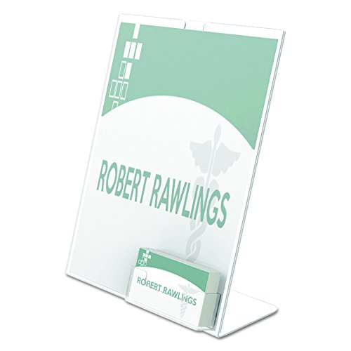 "Deflecto Superior Image Slanted Sign with Business Card Holder, 11"" x 8 1/2"" (590601)"