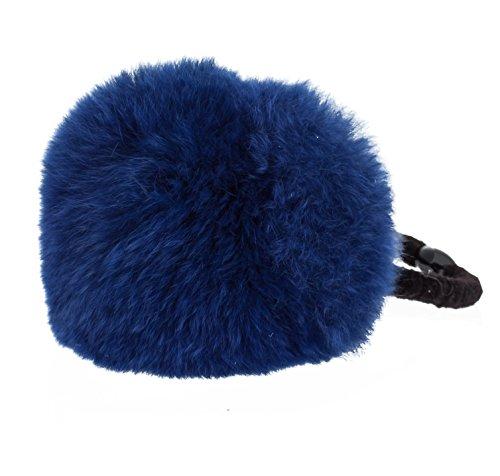 Pom Decor Black Stretchy Band Hair Tie Ponytail Holder 6 PCS, Navy Blue
