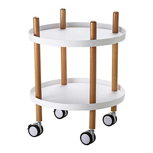 Estante de almacenamiento Soporte de la cesta rodante de 2 niveles, mesa de centro rodante para el baño de la cocina Estante / estante de la cabecera de la ...