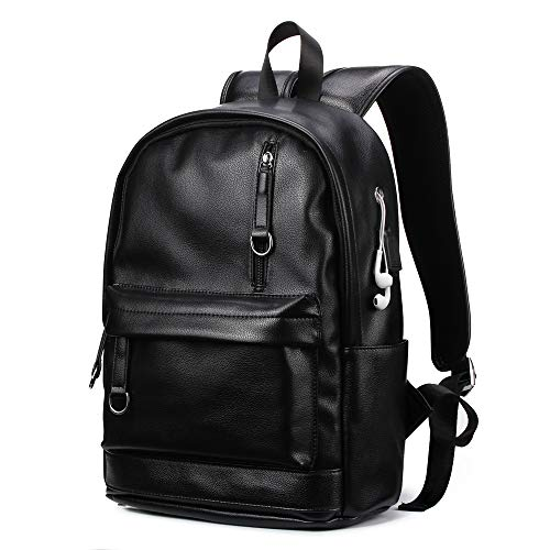 KISSUN Backpack For Women Men Trendy PU Leather School College Bookbag USB Charging Port 13.3 inch Laptop Computer Soft Leather Backpack Women Men Travel Backpack (Color)