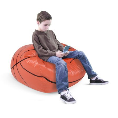 Basketball Junior Sports Vinyl Pure Bead Bean Bag by American Furniture Alliance