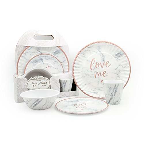 "Vitamin M for living! Unbreakable Reusable ""Chic and Elegant"" Marble Pattern Ceramic Like Melamine Plastic Dinnerware Gift Set"