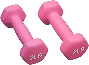 AmazonBasics Neoprene Dumbbells 2-Pound, Set of 2, Hot Pink
