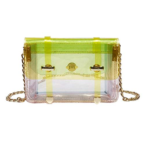 Bolsa la de Yellow PVC Mini Mensajero Yellow Bolso Aleta de de Las Transparente la Cadena de de Mujeres del 4IxXf