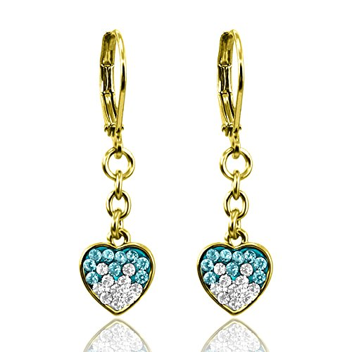 Dangle Earrings Girls Jewelry Sets Crystal Hearts Fashion Jewelry 14k Gold Plated- Best Christmas Gifts