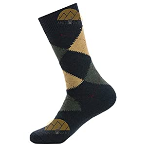 ARGYLE SMART ALPACA SOCKS Premium Quality - Trouser Weight - All Weather Comfort by Alpaca World's BEST NATURAL THERMAL MANGEMENT - Moisture Wicking - ALOE Infused for Skin Care