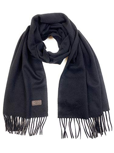 Men's Cashmere Scarf - Black, 100% Italian Cashmere, 72 inches x 12 inches, by Hickey Freeman (Fashion Scarf Men)