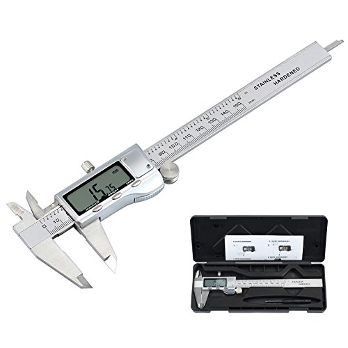 Proster Digital Caliper Vernier Caliper Inch/Metric/Fractions Conversion 6 Inch/150 MM Digital Fractional Caliper with Extra Large LCD Screen Featured Measuring Tool