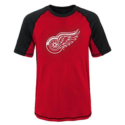 NHL Detroit Red Wings Youth Boys 8-20 Short Sleeve Rash Guard, Medium (10-12), Black