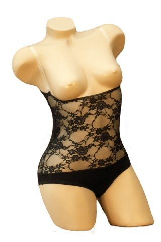 LACE Belly Dance Body Stocking with Straps Leotard Unitard Powermesh UNDERBUST with BRIEF (Black Lace, XLARGE - UK SIZE 20 - ()