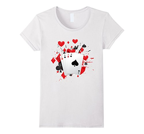 Women's Poker Cards Four Aces Gambling Hand T-Shirt Medium White