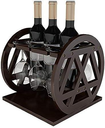 DC Wesley Estantería Nordic Creativo Adornos De Rack De Vino De Madera Sólida Inicio Estantes De Vino Tinto Colgante Simple Al Revés Portavasos Estante De Exhibición Decorativo
