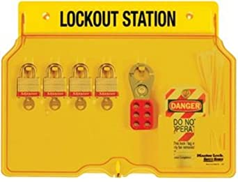 Master Lock Lockout Tagout Station, Covered Group Lockout Station, Includes 4 Aluminum Padlocks, 1482BP1106