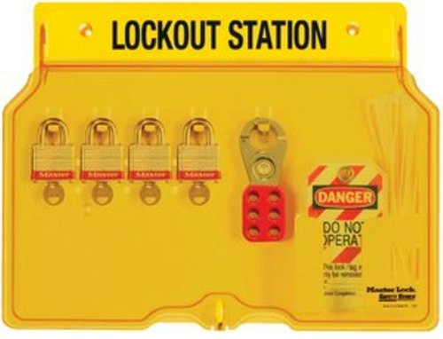 Master Lock 4-Padlock Capacity Lockout Station with Cover, Includes 4 Steel - Color Master Station