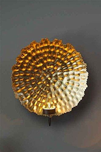 (Vagabond Vintage Large Metal Hammered Gold Leaf Light Wall Sconce)