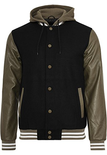 College Blk M Jacket gre Hooded Oldschool 5zWqY