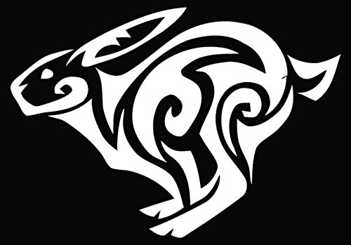 (Tribal Art Rabbit Bunny Running Car Truck Window Bumper Vinyl Graphic Decal Sticker- (8 inch) / (20 cm) Wide MATTE WHITE Color)