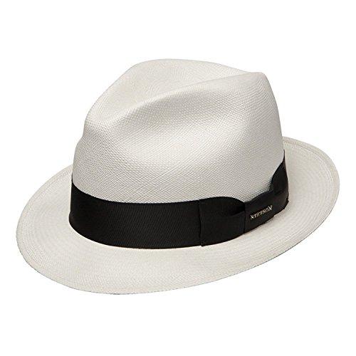 Stetson Haberdash Men's Shantung Straw Center Dent Fedora Hat Natural (Small)
