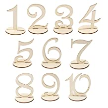 Generic MDF Wooden 10cm Table Numbers 1-10 with Base Wedding Birthday Party French