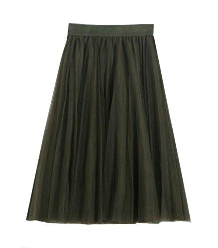Haililais Femme Jupe En T Beau Jupe Mi Longue ElGant Tulle Jupe Tendance Femelle Jupe A-Line Slim Fit Skirt Glamour Jupe Green
