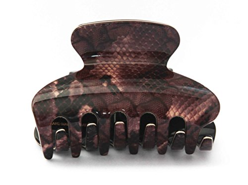 New Premium Editions French Hair Claw Clips Python Brown Lace Pattern Tortoise Shell 3 Inches Large Jaw Hair Clip Clamp O35