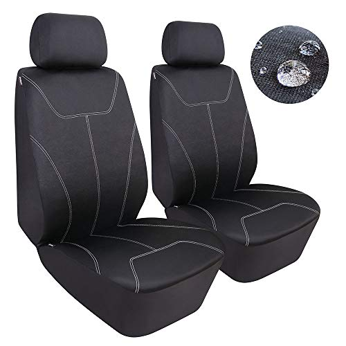 (Elantrip Waterproof Front Seat Covers Set Universal Fit Water Resistant Bucket Seat Protector Airbag Compatible for Cars SUV Truck, Black 2)