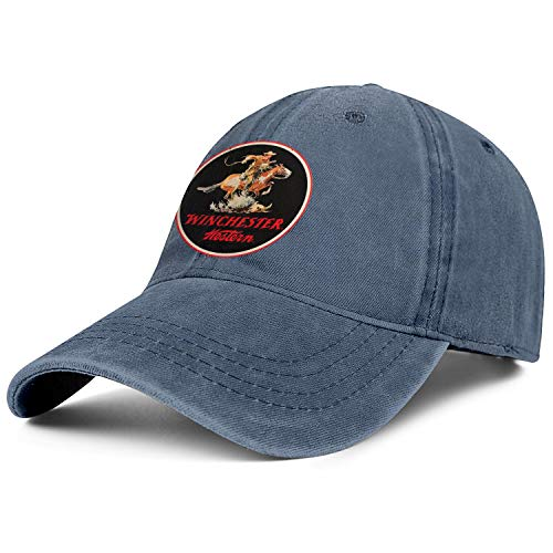 for Men Cowboys Cap Winchester Repeating Arms Logo Messy Youth Flexfit Jeans Hat ()