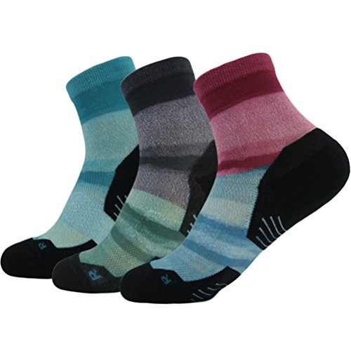 Striped Letter Printing - Running Pack for Men Women HUSO Unique Printing Cushioned Performance Daily Training Sports Ankle High Walking Socks 3 pairs (Multicolor,L/XL)