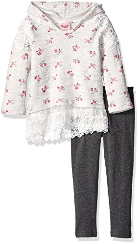 Nannette Little Girls' Toddler 2 Piece Hooded Athleisure Set with Lace Trim and Legging, Gray, 2T