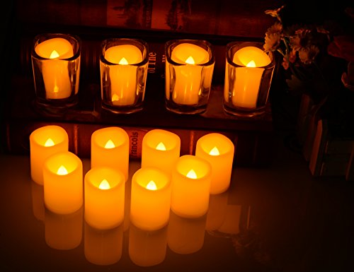 Battery Operated Flickering Flameless Candles – Set of 12 Ivory with Auto – Off Timer Tealight,SWEETIME Votive Led Candles for Weddings and Parties. by Sweetime (Image #5)