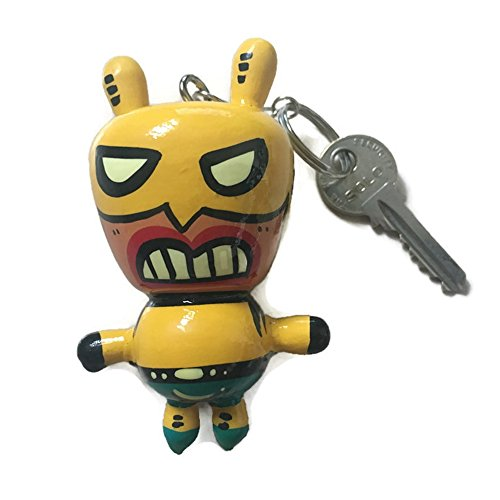 Agility Yellow Wolverine Doll Wood Funny Handmade Key Chain, Key Ring Art Paint