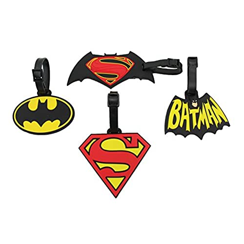 Finex Set of 4 - Large Batman vs Superman Logo Luggage ID Tag for Bags backpack