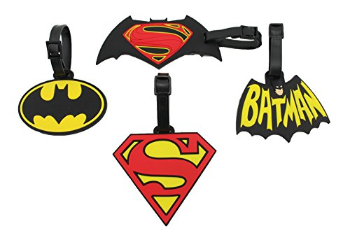 Finex Set of 4 - Large Batman vs Superman Logo Luggage ID Tag for Bags Backpack with Adjustable Strap