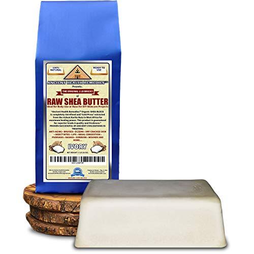 Organic Unrefined Raw AFRICAN IVORY WHITE SHEA BUTTER 1 LB (16 oz) BLOCK Bulk Grade A for Anti Aging, Base for DIY Body Butter, Beauty, Skin Moisturizer & Hand Cream(GHANA)