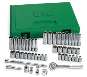 SK 91848 Fractional Socket Set - 48-Piece Metric Assortments, Durable, Corrosion Resistant Impact Units. Universal Joint Socket Set by SK Hand Tool