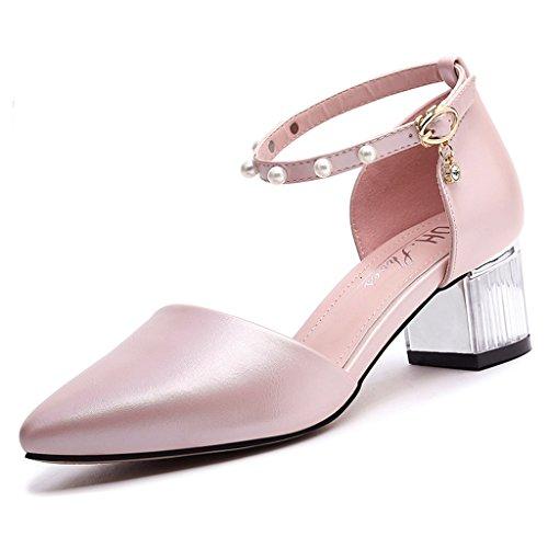 Talon Épais Printemps L'orteil Femme Chaussures Rose À Envelopper Moyen Talons Tête Supérieur Enveloppant Pu Hauts Pointue Vamp 8wBg7q