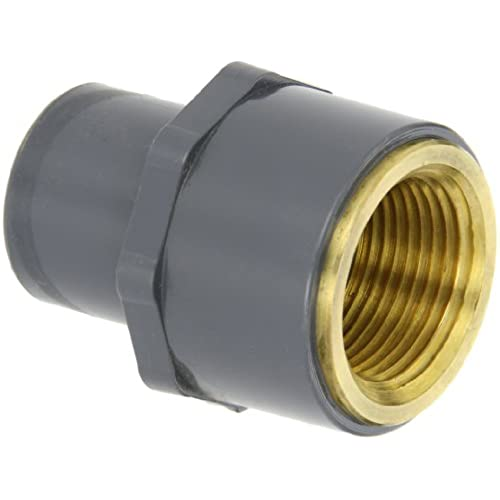 "New GF Piping Systems PVC to Brass Transition Pipe Fitting, Adapter, Schedule 80, Gray, 1"" NPT Female x SPG"