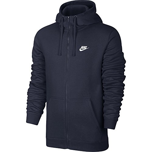 NIKE Sportswear Mens Full Zip Club Hoodie, Obsidian/Obsidian/White, Large