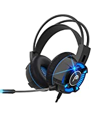 Fosmon Gaming Headset with Mic Microphone, (50mm Surround Sound Driver) Strong Bass Over Ear Headphone with Comfy Ergonomic Headband Compatible with Xbox One PS4 Nintendo Switch PC Laptop Desktop Mac