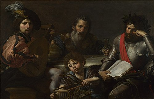 Polyster Canvas ,the Imitations Art DecorativeCanvas Prints Of Oil Painting 'Valentin De Boulogne The Four Ages Of Man ', 24 X 37 Inch / 61 X 94 Cm Is Best For Dining Room Decor And Home Decor And Gifts