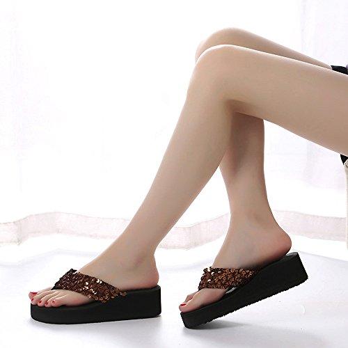 BUIMIN Zapato Zapatillas con Lentejuelas Casual Mujer Sólido Informal De Moda Para Verano Talla 36/37/38/39/40 (40, Café)