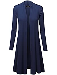 Womens Long Sleeve Open Front Long Cardigan - Made In USA