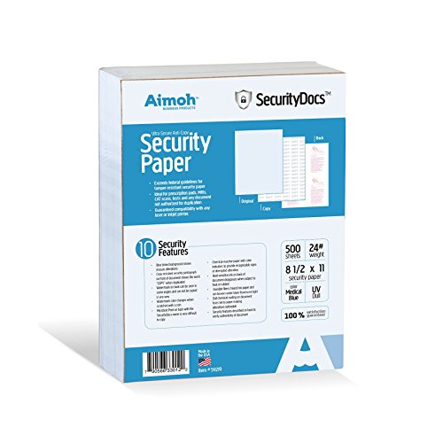- SecurityDocs ULTRA Security Paper - 10 Security Features, Suitable for Prescriptions Pads and All Business Needs, tamper-resistant, COPY Pantograph, 8.5 x 11-24 LB, Medical Blue, 500 Sheets (59219)